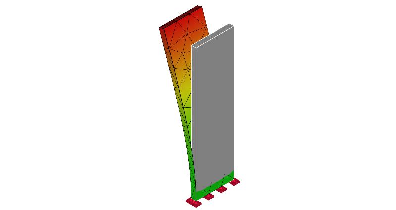 片持ち梁の振動モード形:1次モード
