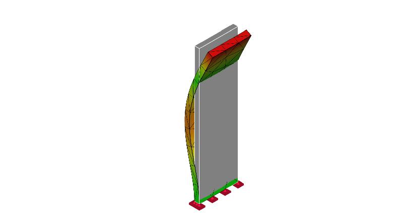 片持ち梁の振動モード形:2次モード