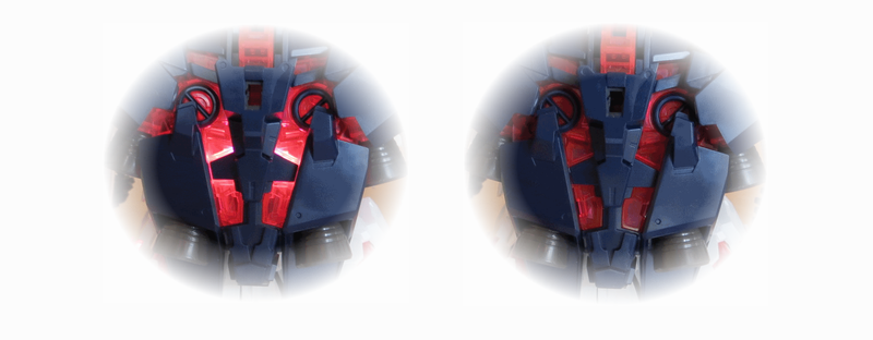 PGユニコーンのバックパックのLED点灯状態の比較