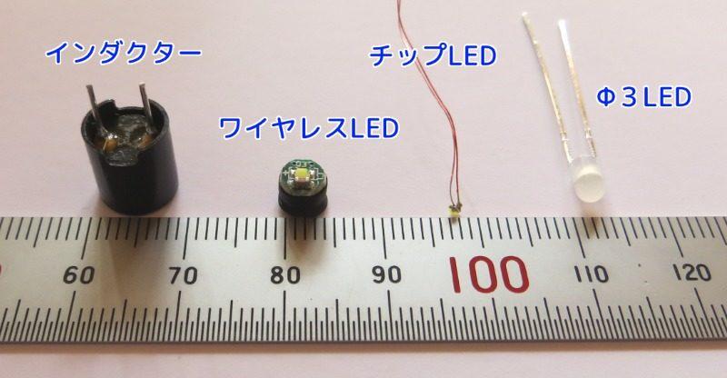 ワイヤレスLEDなどの大きさ比較
