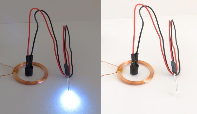 自作ワイヤレスLEDの点灯実験