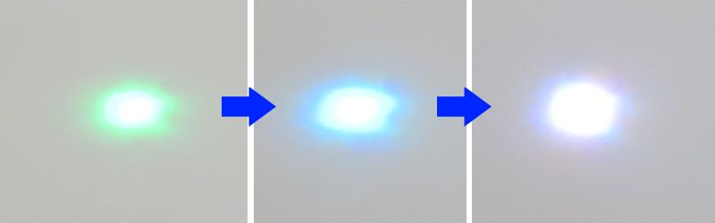フルカラーLEDの3色を同時に点灯させた状態