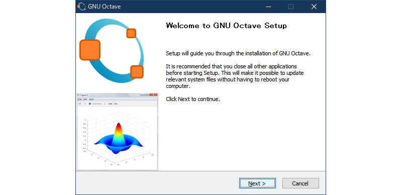GNU Octaveインストーラーの起動画面
