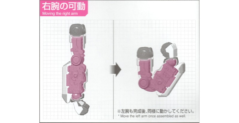 RGνガンダムの右腕の可動:取扱説明書