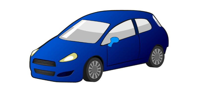 自動車の車体とドアミラー