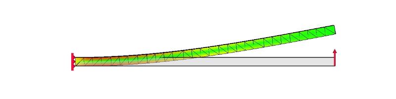 片持ち梁の応力解析例(側面図)