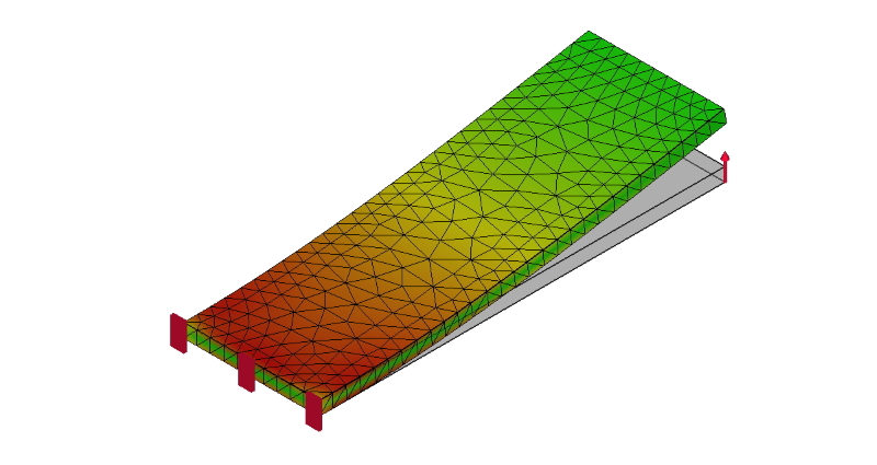 片持ち梁の応力解析例