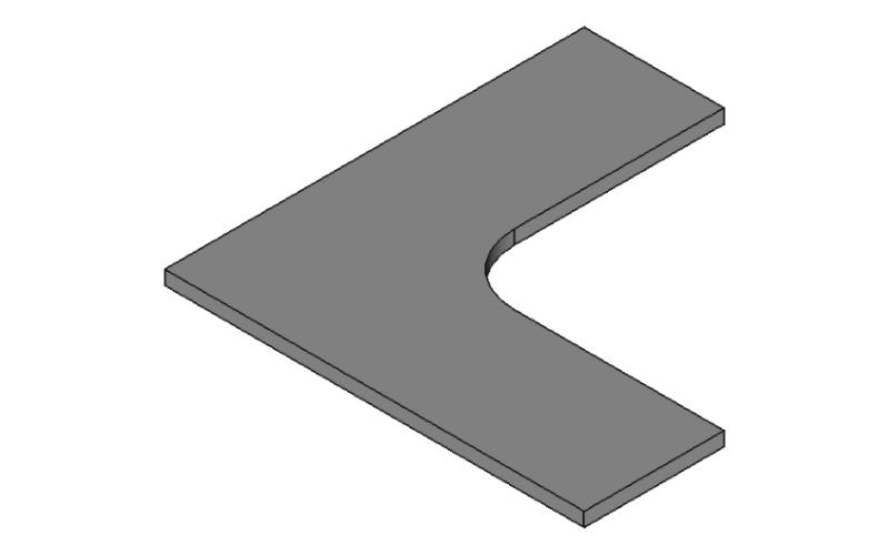 Rを追加したL字金具の3Dモデル