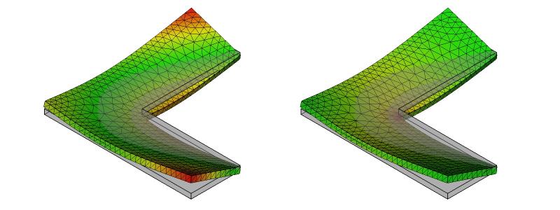 L字金具の変形と応力分布:初期形状:7次モード