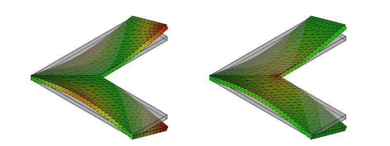 L字金具の変形と応力分布:初期形状8次モード