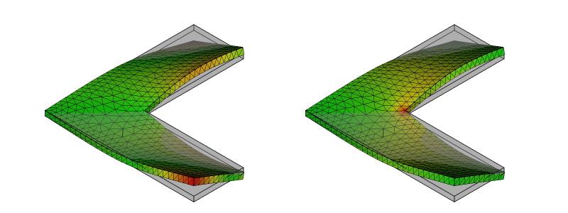 L字金具の変形と応力分布:初期形状:9次モード
