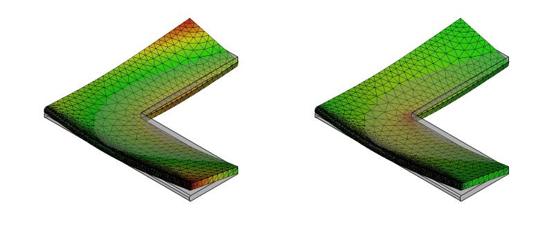 L字金具の変形と応力分布:初期形状+面取り:7次モード