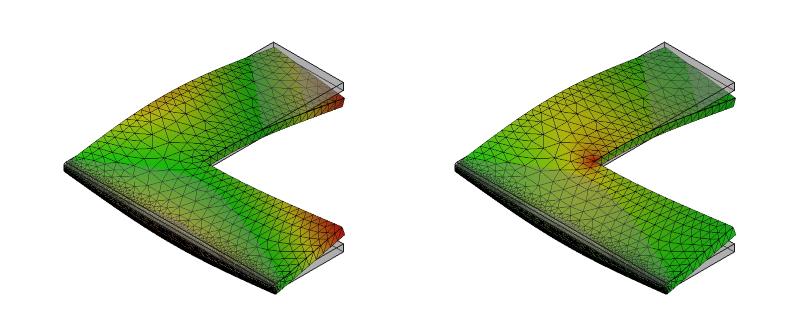 L字金具の変形と応力分布:初期形状+面取り:8次モード