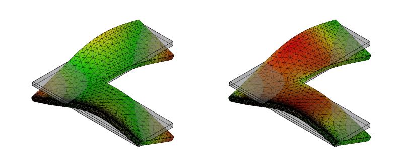 L字金具の変形と応力分布:初期形状+面取り:9次モード