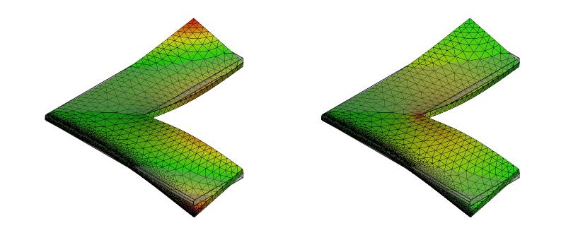 L字金具の変形と応力分布:初期形状+面取り:10次モード