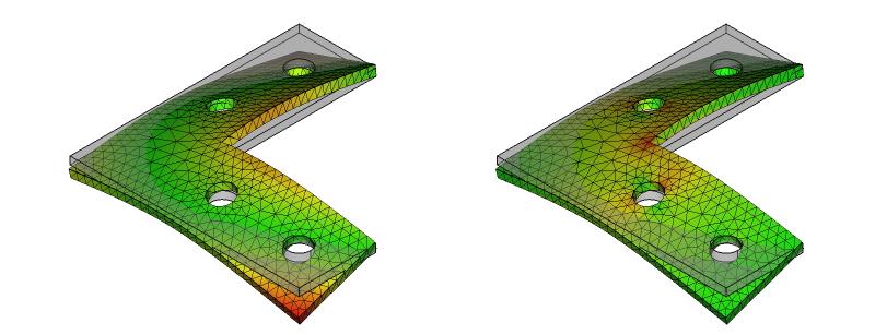 L字金具の変形と応力分布:初期形状+ネジ穴:7次モード