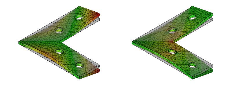 L字金具の変形と応力分布:初期形状+ネジ穴:8次モード