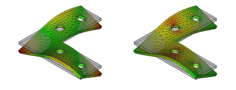 L字金具の変形と応力分布:初期形状+ネジ穴:9次モード