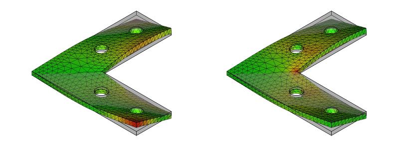 L字金具の変形と応力分布:初期形状+ネジ穴:10次モード