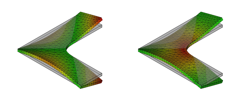 L字金具の変形と応力分布:初期形状+R:8次モード