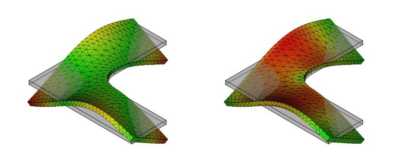 L字金具の変形と応力分布:初期形状+R:9次モード
