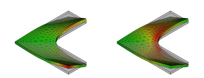 L字金具の変形と応力分布:初期形状+R:10次モード