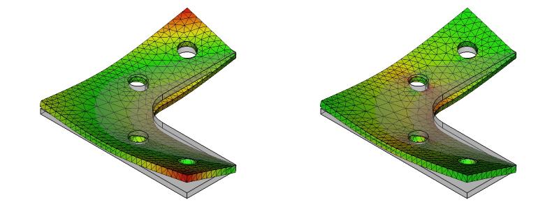 L字金具の変位と応力:初期形状+R+ネジ穴:7次モード