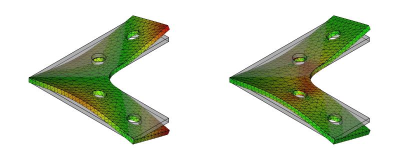 L字金具の変位と応力:初期形状+R+ネジ穴:8次モード