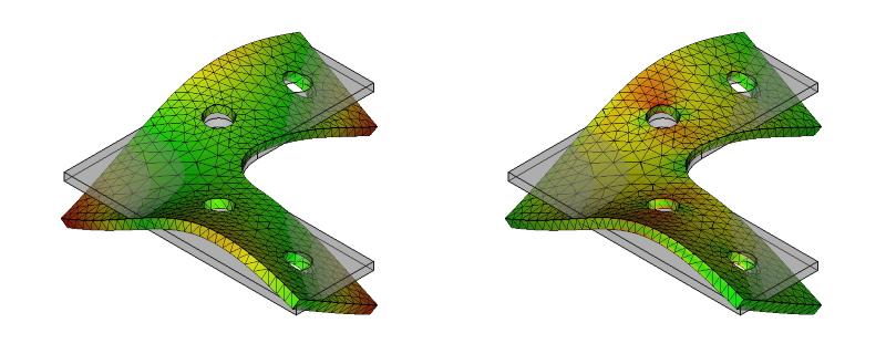 L字金具の変位と応力:初期形状+R+ネジ穴:9次モード