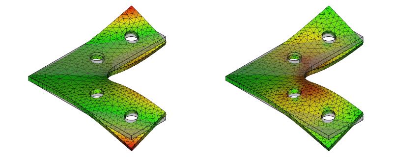 L字金具の変位と応力:初期形状+R+ネジ穴:10次モード