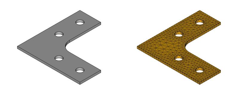 L字金具のメッシュ:初期形状+R+ネジ穴