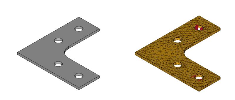 L字金具のメッシュ:初期形状+R+ネジ穴:拘束と荷重