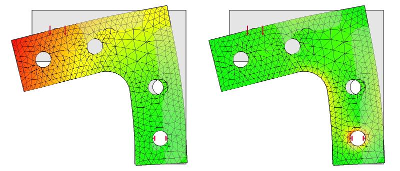 図31 L字金具の応力解析結果:初期形状+R+ネジ穴:拘束と荷重