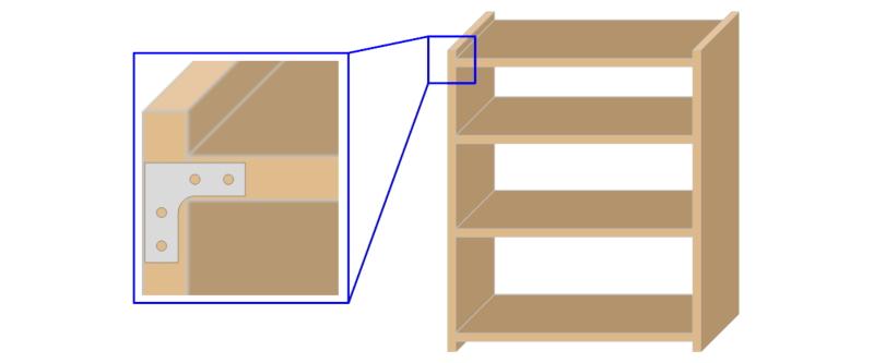 L字金具の使用例:棚