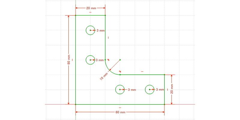 L字金具:初期形状+Rとネジ穴追加(最終形状)