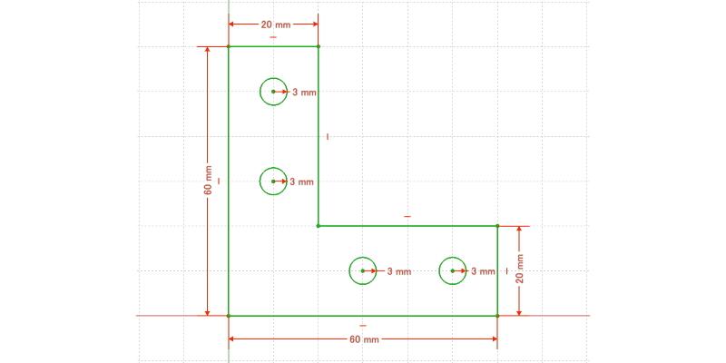 L字金具:初期形状+ネジ穴追加