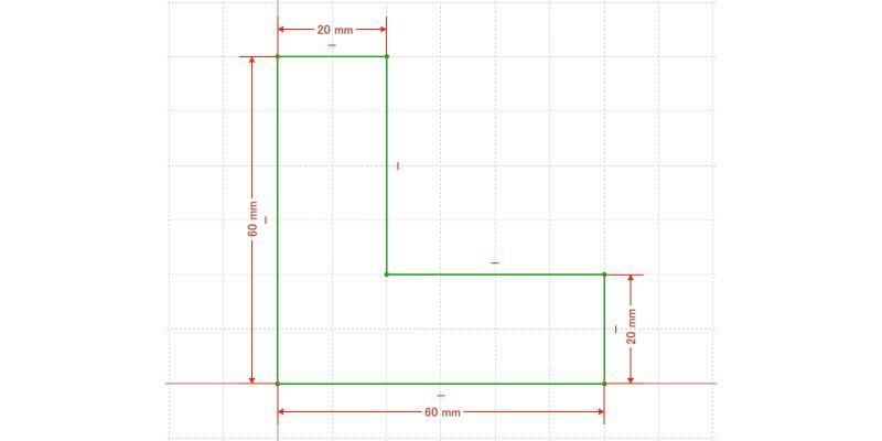 L字金具:初期形状