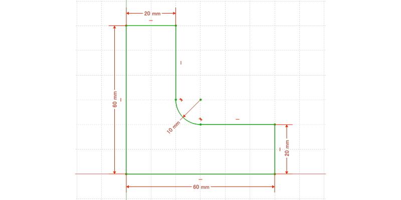 L字金具:初期形状+R追加