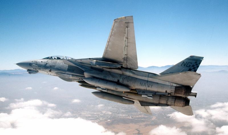 F-14の可変翼を開いた状態