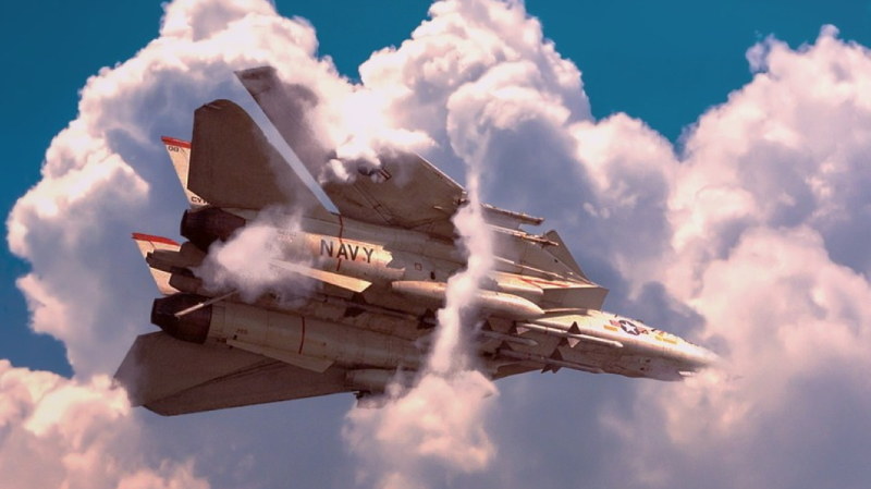 F-14の可変翼が後退した状態