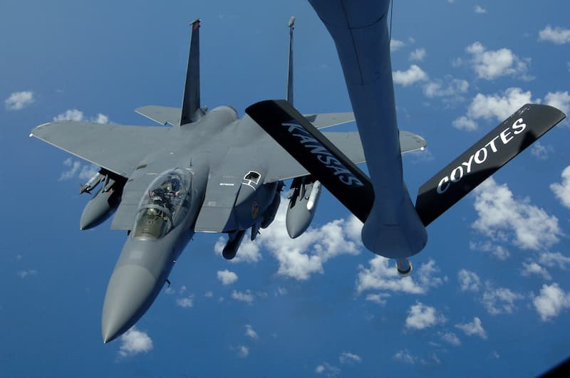 F-15's Refuel High Above the Pacific