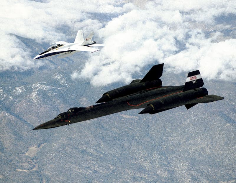 SR-71B in Flight with F-18 Chase Aircraft