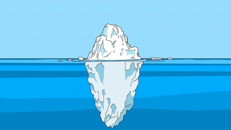氷山のイメージ(海上部分と海中部分)
